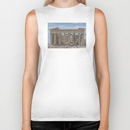 Modern and Ancient - Parthenon at Acropolis of Athens Under Construction Biker Tank