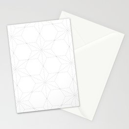 Elegant Japanese-style Sashiko Star pattern, modernized light-grey on white Stationery Cards