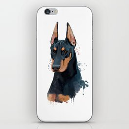 Doberman watercolor, Watercolor Doberman, Watercolor dog, Doberman portrait iPhone Skin