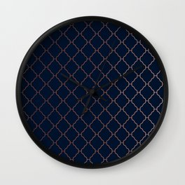 Navy blue and copper seamless pattern Wall Clock