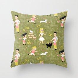 Summer Family Cookout Throw Pillow