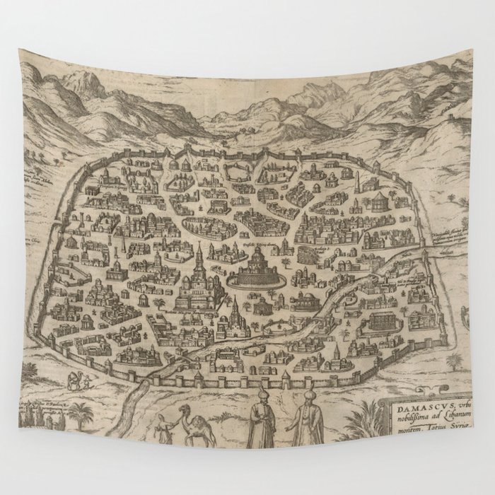 Historical Map of Damascus Syria (1575) Wall Tapestry by ...