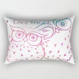 Owl Always Love You - Pink and Blue Rectangular Pillow