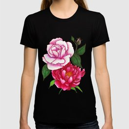 Rose and Peony Flowers T-shirt