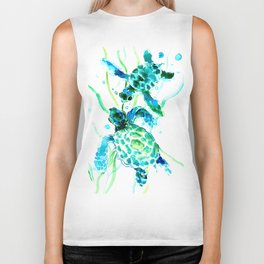 Sea Turtles, Turquoise blue Design Biker Tank