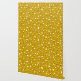 Dainty Wildflowers - Mustard & Blush Wallpaper