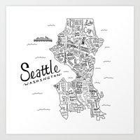 seattle Art Prints featuring Seattle Map by Claire Lordon