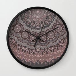 Mandala Spirit, Rose Pink, Gray Wall Clock