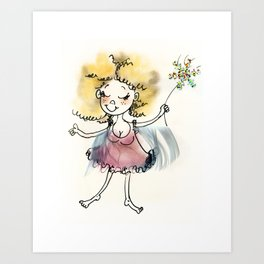 Pink fluffy fairy Art Print