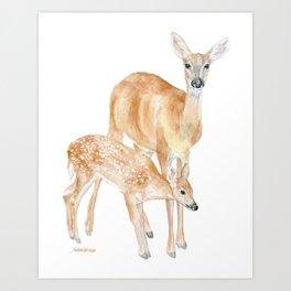 Mother and Baby Deer Watercolor Art Print