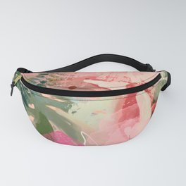 pink jungle leaves art abstract Fanny Pack
