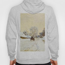 Claude Monet Impressionist Landscape Oil Painting A Cart on the Snowy Road at Honfleur Hoody