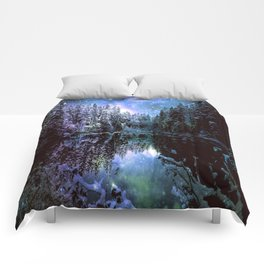 A Cold Winters Night : Violet Teal Green Winter Wonderland Comforters
