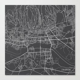 Zagreb Map, Croatia - Gray Canvas Print