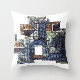 Taiwanese roofscapes 01(colored) Throw Pillow