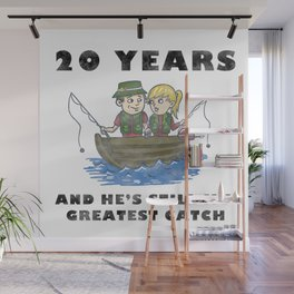 Anniversary 20 Couple Fishing Wife Husband Gift Wall Mural