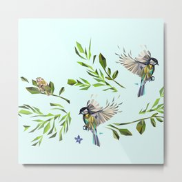 Geometric Nature with Birds Pattern (blue tit and goldcrest) Metal Print