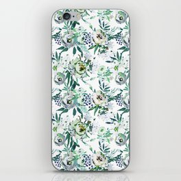 Country white green rustic watercolor floral iPhone Skin