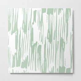 Bamboo Stripe Pastel Cactus Green White Metal Print