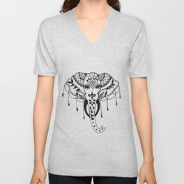 Mehndi Design Elephant by Ganesh Unisex V-Neck