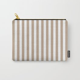 Pantone Hazelnut and White Stripes, Wide Vertical Line Pattern Carry-All Pouch