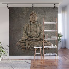 Sitting Buddha On Distressed Metal Background Wall Mural