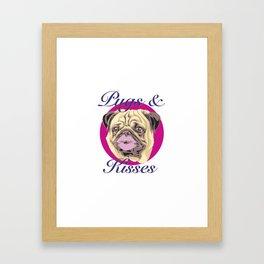 Pugs and Kisses Framed Art Print