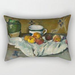 Paul Cézanne - Still Life with Jar, Cup and Apples - Poterie, tasse et fruits sur une nappe blanche Rectangular Pillow