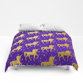 Purple and Gold Unicorn and Stars Pattern Comforters