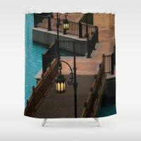 arab Shower Curtains featuring Dubai Burj Al Arab Walkway by gdesai