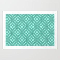 Quatrefoil - Teal Art Print