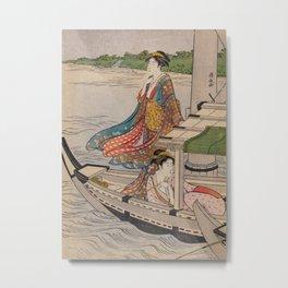 Japanese Color Woodblock Print by Torii Kiyonaga, 1780 Metal Print