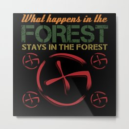 Geocaching Forest Nature Run Find Shirt Design Metal Print