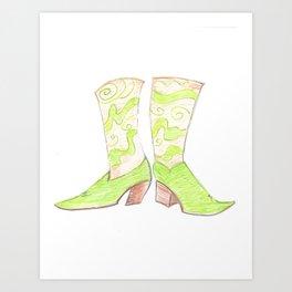 Funky Green Boots Art Print