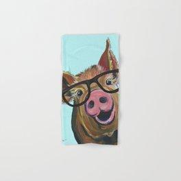 Cute Pig, Pig Art, Farm Animal Hand & Bath Towel