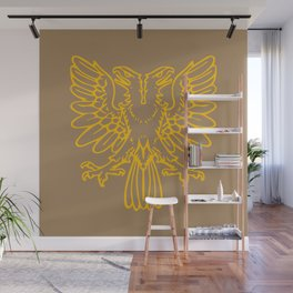 yellow double-headed eagle on brown background Wall Mural