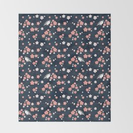 Navy blue cherry blossom finch Throw Blanket