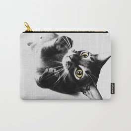 Cute Abyssinian cat  black and white Carry-All Pouch