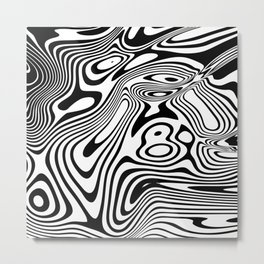 Black and White Marble Pattern Metal Print