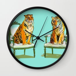 animals in chairs # 21 The Tigers Wall Clock