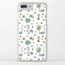 Camping Pattern Clear iPhone Case