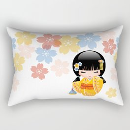 Japanese Summer Kokeshi Doll Rectangular Pillow