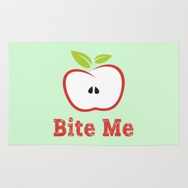 Red Apple Illustration - Bite Me Typography Rug