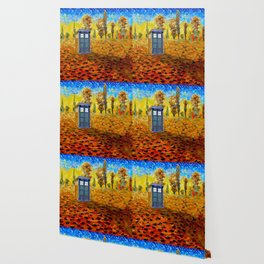 Blue phone Booth at Fall Grass Field Painting Wallpaper