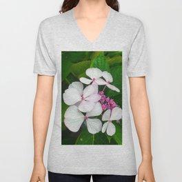 White Summer Hydrangea Unisex V-Neck