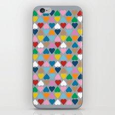 Diamond Hearts on Grey iPhone Skin