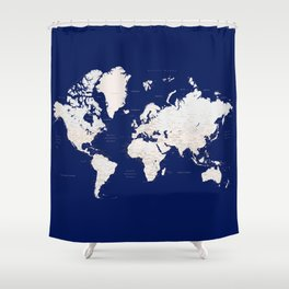 "Navy blue and light brown detailed world map ""Gavin"" Shower Curtain"