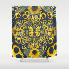 YELLOW MONARCH BUTTERFLY & GREY MODERN FLORAL ART Shower Curtain