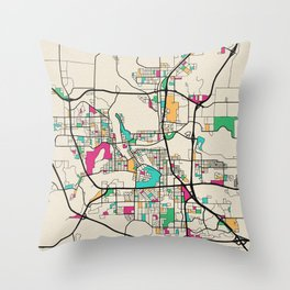 Colorful City Maps: Eau Claire, Wisconsin Throw Pillow