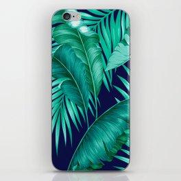 HAWAIIAN GARDEN TROPICAL LEAVES | turquoise navy iPhone Skin
